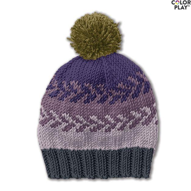 Caron X Pantone Knit Fair Isle Hat Free Pattern Yarnspirations