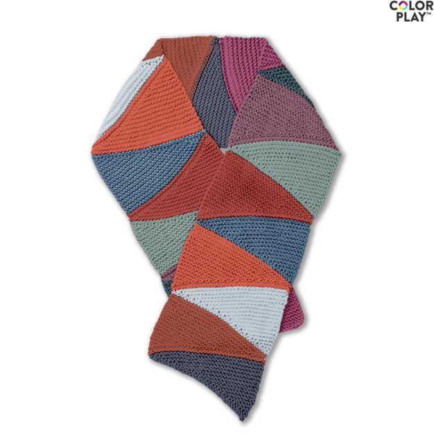 Caron X Pantone See Saw Knit Scarf Free Pattern Yarnspirations